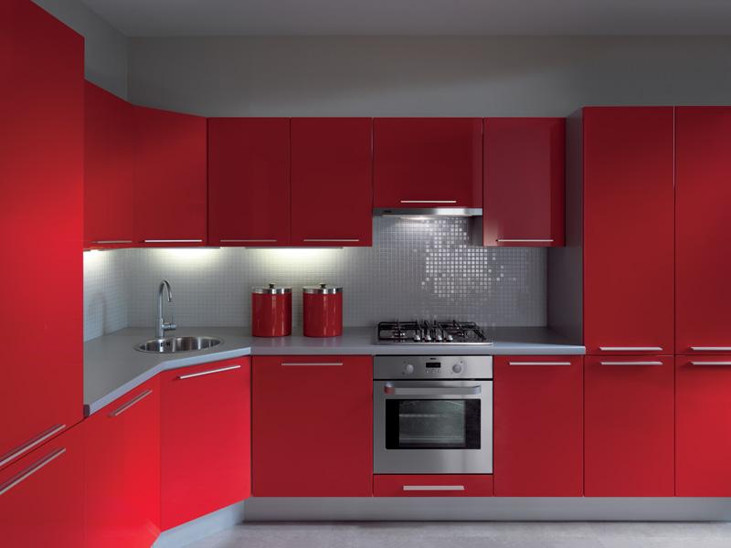 Küche 300cm, Küchenzeile Hochglanz Rot MDF Fronten erweiterbar | eBay